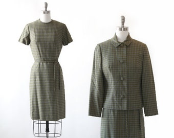 Houndstooth wool suit | Vintage 60s houndstooth tweed suit | Mid century Modern 2pc dress suit jacket