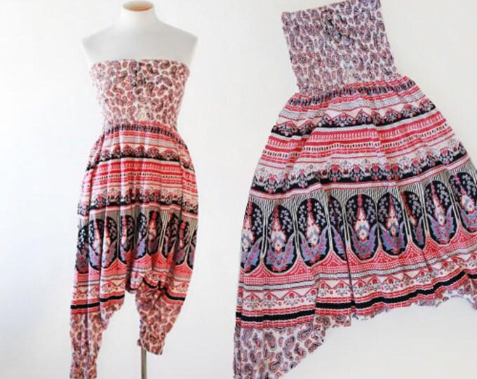 Indian cotton jumpsuit   Vintage 70s paisley jumpsuit   Herman parachute pant jumpsuit