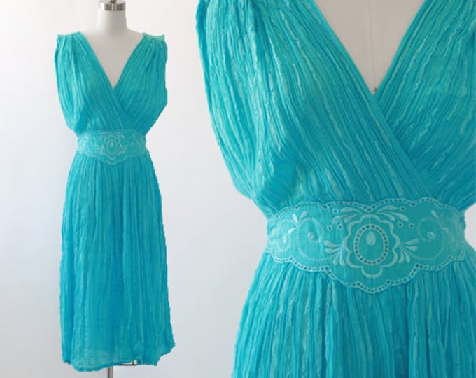 Grecian gauze dress   Vintage 70s blue Cotton gauze embroidered floral dress