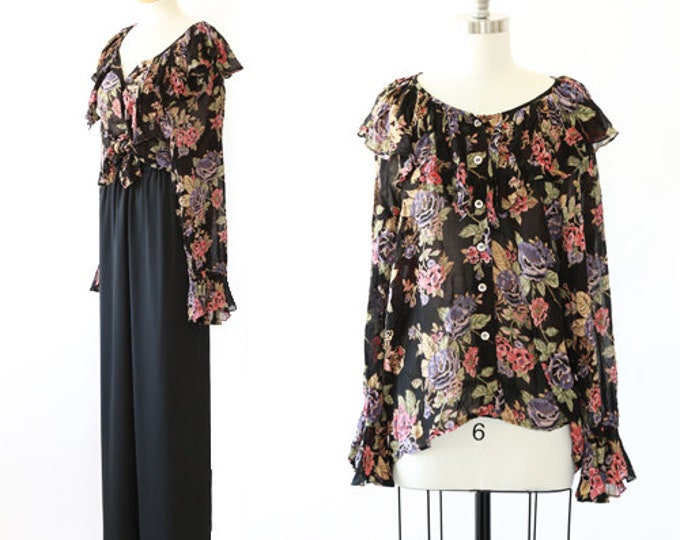 Tie waist floral blouse | vintage 90s sheer floral ruffle blouse