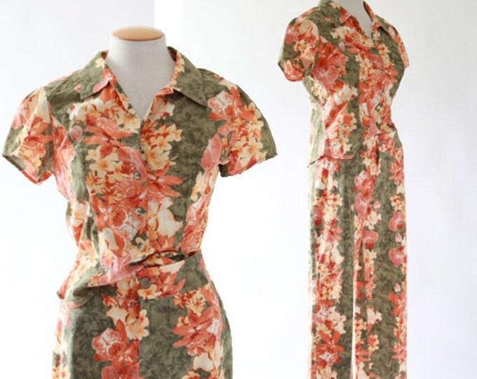 2pc Tropical Orchid cotton set | Vintage 90s Hawaiian blouse + Capris S