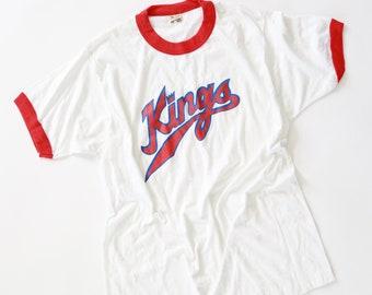Vintage 70s Sacramento Kings paper thin MBA Basketball T shirt L