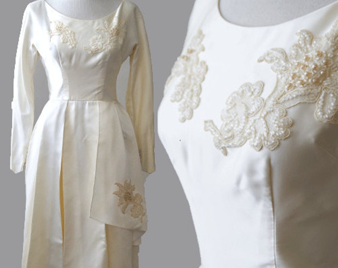 Forever pearl wedding gown | vintage 1950s wedding dress |  beaded Pearl Lustre  50s wedding dress