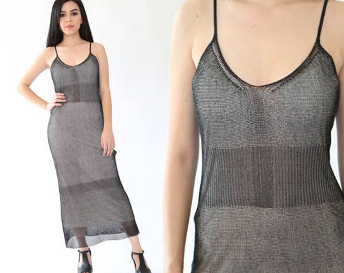 Vintage 90s DKNY sheer black NET nude sexy cocktail party Maxi dress S