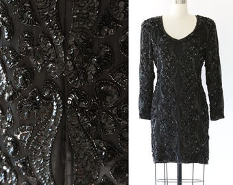 Heavily beaded Sequin dress | Vintage 80s black SILK sequin mini dress