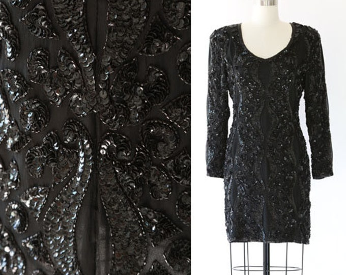 Heavily beaded Sequin dress | Vintage 80s black SILK sequin mini dress