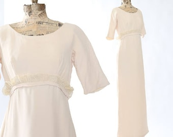 SALE! 60s Wedding dress | Vintage 60s Modern crochet shift wedding dress | crochet lace maxi dress