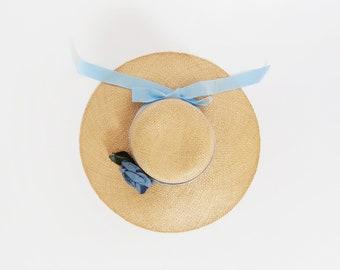 Vintage straw market hat | Blue rose ribbon bow natural straw sun hat