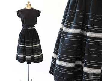 Serape skirt | vintage 1940s skirt | mexican 40s 50's striped Puebla skirt