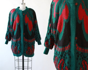 Cocoon deco sweater | Vintage 80s abstract knit Cardigan | oversized knit coat sweater