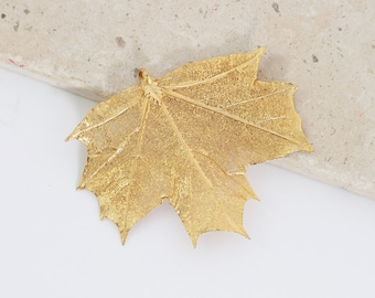 Vintage 10K gold maple leaf pendant | real leaf gold pendant