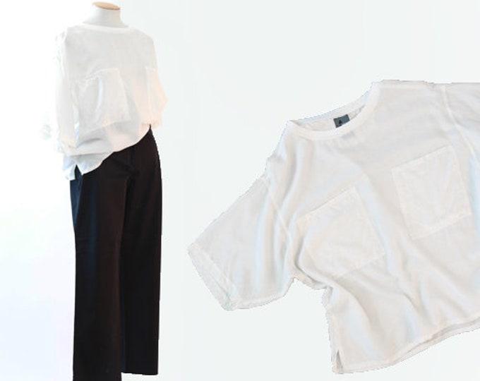 Silk T shirt   Vintage 80s white silk pocket tee