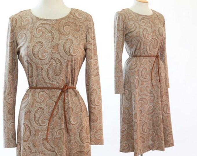 Paisley Midi dress   ViNtAgE 70s Brown Paisley Dress
