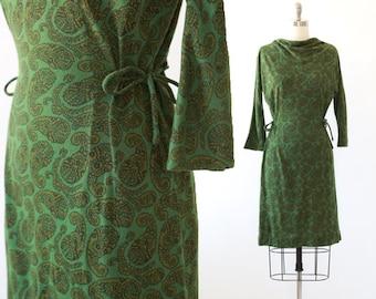 McKettrick paisley dress | vintage 60s green paisley wiggle dress | 1960s paisley dress