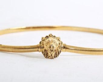 Vintage Gold Lion Head Belt | Accessocraft stretch lion belt