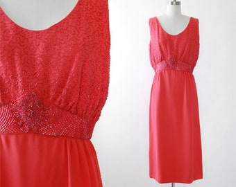 I. MAGNIN beaded dress | Vintage 60s coral crepe dress | Medium beaded dress