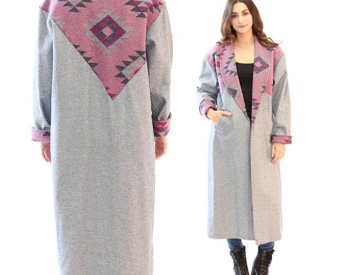 Denim duster coat | Vintage 80s purple Southwestern coat