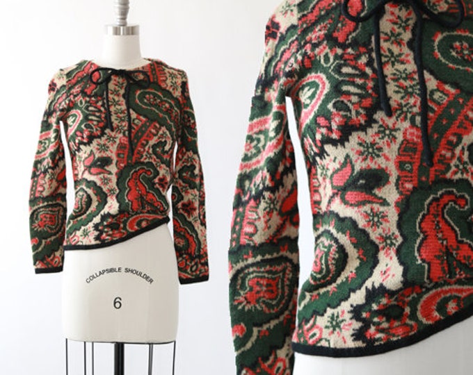 Catalina Jacquard paisley sweater | Vintage 60s floral knit sweater