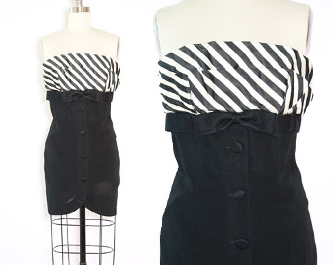Tuxedo mini dress | Vintage 80s striped Black + white mini dress