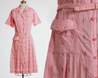 Floral day dress | Vintage 50s pink striped cotton house dress | 1950s embroidered floral day dress