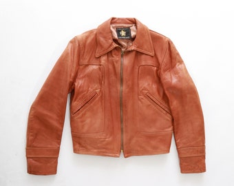 Golden bear leather jacket | Vintage 70s buttery soft leather jacket  | 1970s perfectly worn in brown leather jacket