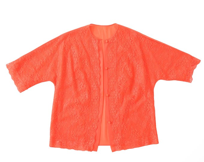 60s orange lace lingerie crop top