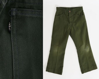 Vintage 70s Levis Sta Prest BIG E Black Tab Green Jeans kids youth Pants