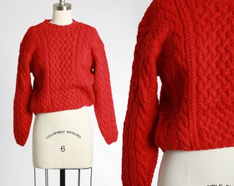 90s cropped red cable knit wool sweater
