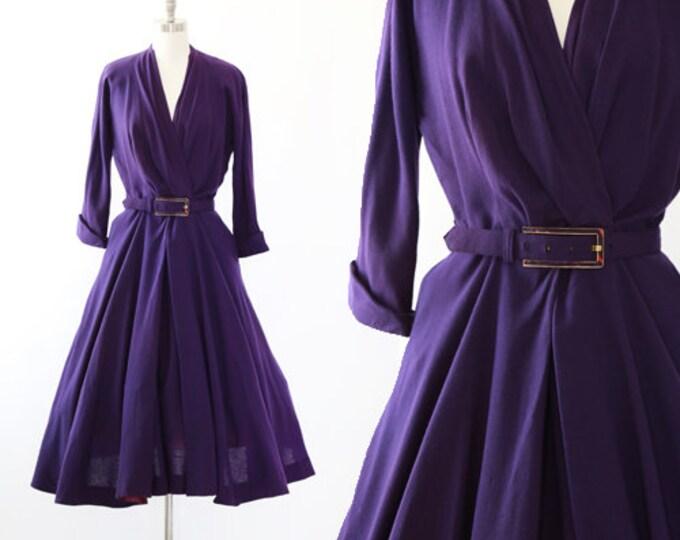 International original 40s dress | Vintage 40s purple wool full skirt dress | 40s wool dress