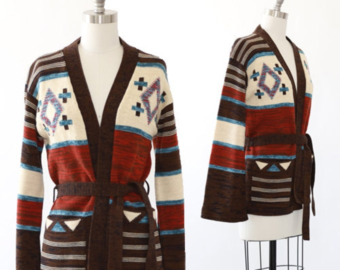 70s space dyed knit sweater | Vintage 70s Cowichan wrap ethnic cardigan