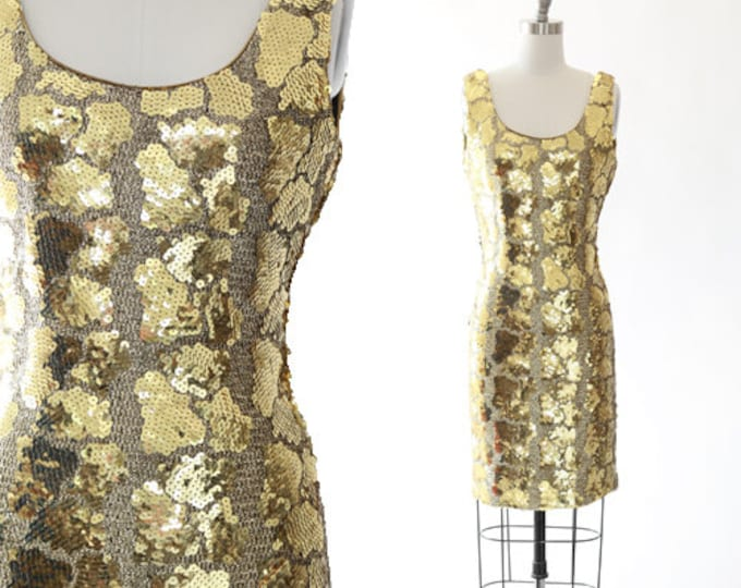 Dave & Johnny sequin dress | Vintage 80s GOLD Sequin lame mini Dress
