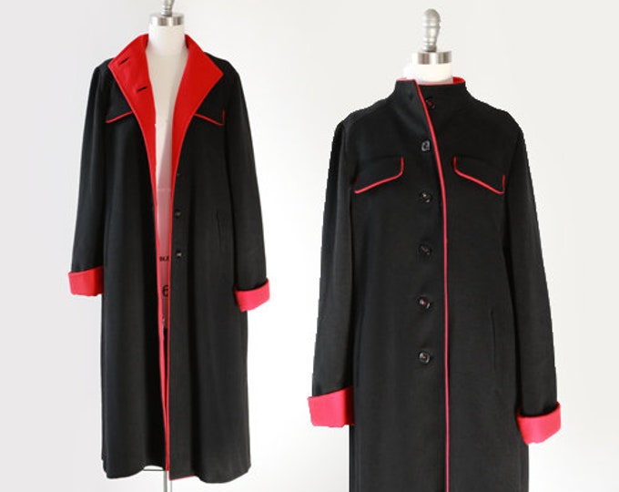 Worumbo stroller coat | Vintage 60s color block red + black wool coat | 1960s wool stroller