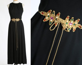 Egyptian revival jumpsuit | Vintage 60s black jumpsuit | 1960s palazzo pant Jumpsuit