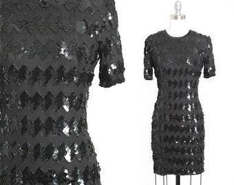 S 90s ZigZag sequin dress | Vintage 90s black silk Sequin mini dress | 1980s
