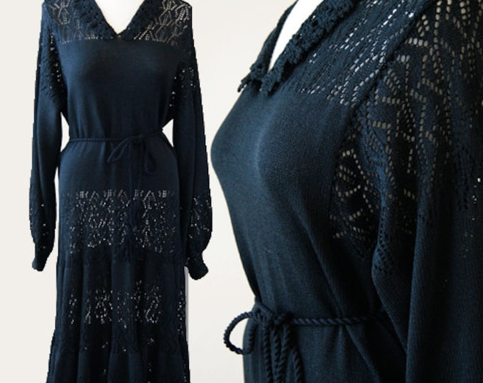 Witchy crochet knit dress | Vintage 70s Miss JoAnn black Crochet Maxi goth wedding Dress L
