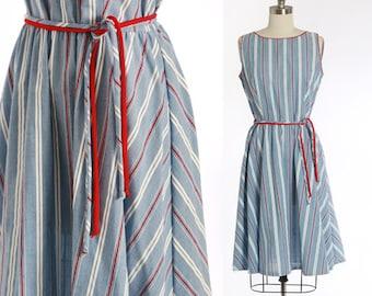 Chambray striped dress | Vintage 70s Jan Sue red, white & blue tank dress | 1970s patriotic cotton day dress