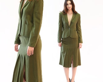 Patty Woodard wool suit | Vintage 70s 40s Army green wool 2pc suit | 1940s style 2pc wool high waist skirt blazer suit