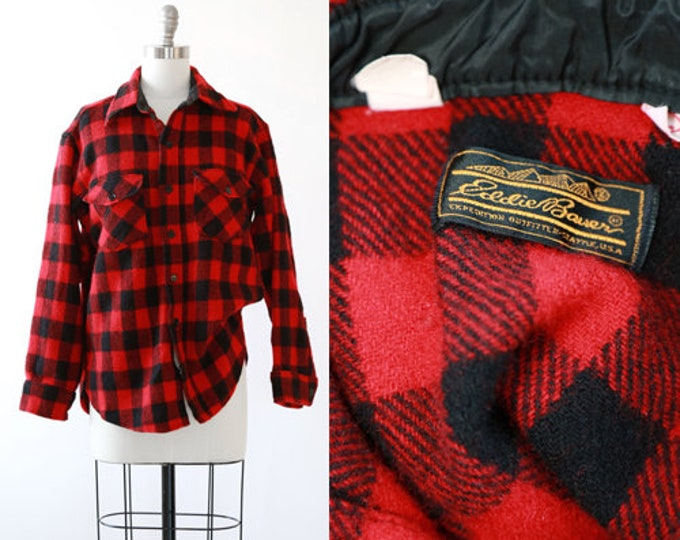 Eddie Bauer buffalo plaid | Vintage 80s red buffalo Plaid Wool flannel USA