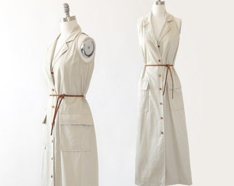safari cotton field dress | Vintage 90s Bill Blass khaki safari dress