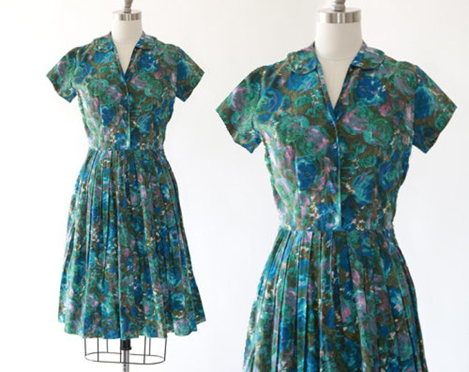 50s floral dress | Vintage 50s Kay Windsor Polished Cotton Dress