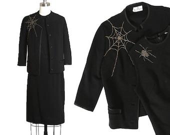 Spiderweb suit   Vintage 60s black knit wool beaded spiderweb spider suit skirt   1960s 3pc Spiderweb spider blazer top