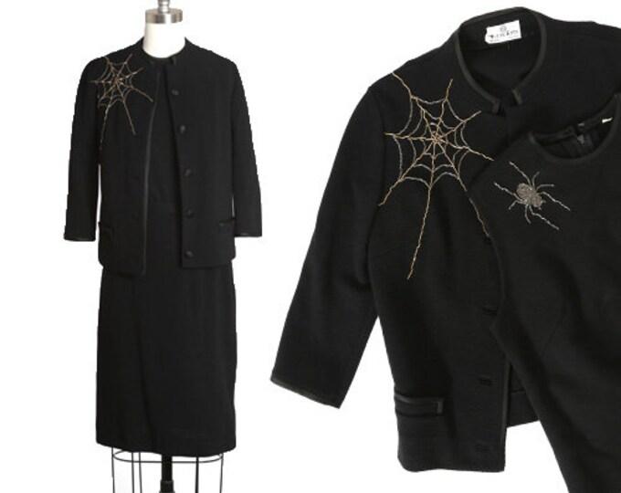 Featured listing image: Spiderweb suit | Vintage 60s black knit wool beaded spiderweb spider suit skirt | 1960s 3pc Spiderweb spider blazer top