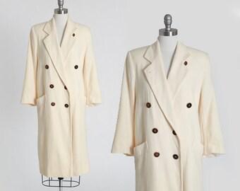 Fleurette wool coat | Vintage 80s 90s I. Magnin ivory wool coat | minimalist oversized coat