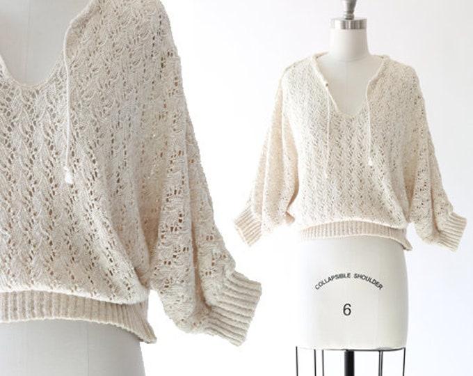 Popper crochet knit sweater | Vintage 70s batwing knit sweater