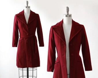 Claret wool coat  Vintage 60s wool coat   1960s petite belted coat