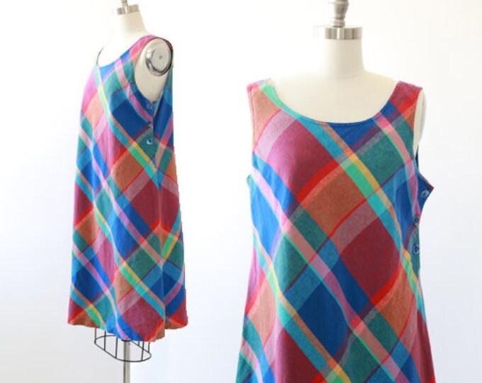 Rainbow plaid dress | vintage 90s woven cotton jumper dress | Plaid dress