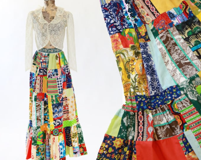 Patchwork skirt | Vintage 70s cotton Maxi skirt