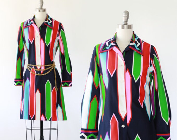 Serbin arrow dress | Vintage 60s 70s rainbow striped shift dress | MOD mini dress