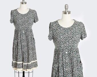 Botanical babydoll dress | Vintage 90s floral rayon mini dress | 1990s All that Jazz babydoll dress