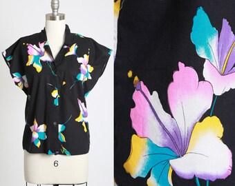 Ombre Hibiscus blouse | Vintage 80s cotton rainbow Hawaiian shirt